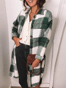 Retro Color Block Plaid Woolen Flannel Coat