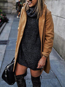 Fashion Plain Color Zipper Casual Woolen Coat