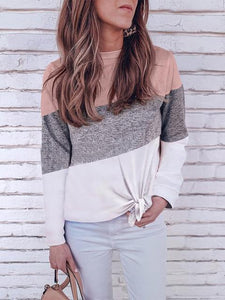 Fashion Three-Color Contrast Round Neck Long-sleeve T-shirt