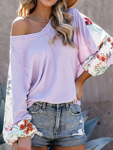 V-neck Loose Long Sleeve Pullover Blouse