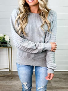 Casual Round Neck Solid Color Texture Pullover