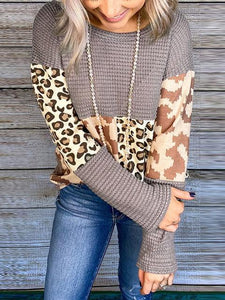 Leopard Stitching Long-sleeved T-shirt