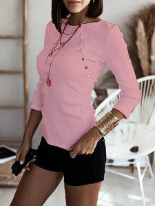 Beveled Button Round Neck Slim Solid Color All-match T-Shirt