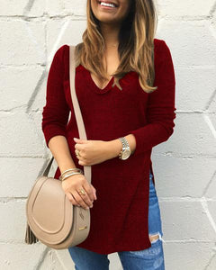 V-neck Long Sleeve Slit Asymmetrical Knit T-Shirt