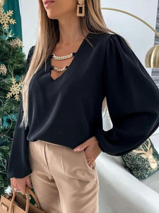 Chain V-Neck Satin Bipshop Sleeve Blouse