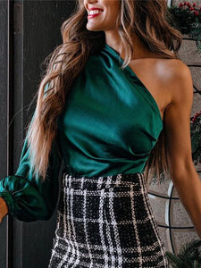 One Shoulder High Waist Satin Top