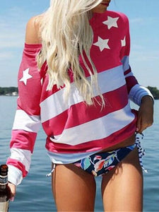 Five-pointed Star Print Oblique Collar Long-sleeved T-shirt