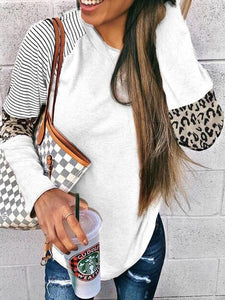 Leopard Print Color Block Striped Round Neck T-Shirt