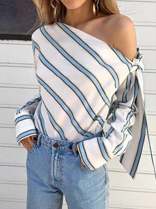 Off Shoulder Bow-Tie Sleeve Striped Blouse