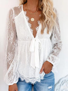 Lace Embroidery Stitching Bow Tie Blouse