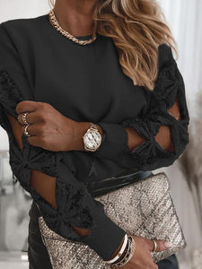 Bow-Tie Sequin Sleeve Relax Sweater