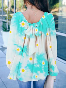 Bow Tie Printed Tie-dye Loose Blouse