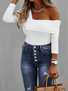 Long sleeve Oblique Off-shoulder Ribbed T-shirt