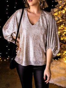 V Neck Shiny Lantern Sleeve Blouse