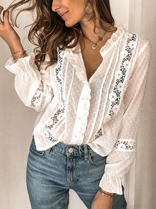 Cut Flower Lace Stitching Hollow Solid Color Long-sleeved Blouse