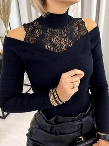 Lace Stitching Cold Shoulder Long Sleeve T-Shirt