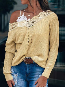 Long Sleeve Lace Neck Stitching Relax Sweater