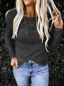 Casual Autumn Lace Stitching Long Sleeve T-shirt