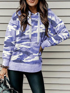 Camouflage Pattern Casual Pullover Hooded Sweatshirt