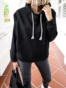 Solid Color Drawstring Button Pocket Hoodie