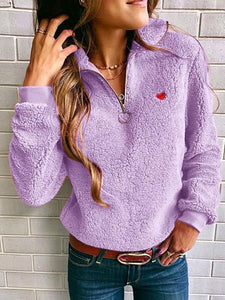 Sherpa Half-Zip Heart Stiching Plush Sweatshirt