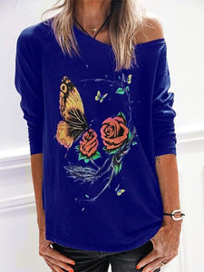 Round Neck Butterfly Flower Print Loose-Fit Sweatshirt