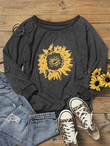Big Round Neck Sunflower Casual Sweatshirt