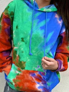 Tie-dye Printed Long-sleeved Loose-fit Hoodie