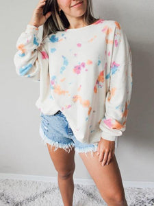 Round Neck Long Sleeve Printed Sweatershirt