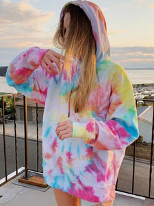 Tie-dye Long Sleeve Drawstring Leisure Hoodie