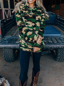 Camouflage Green Half-Zip Plush Sweatshirt