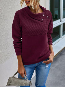 Fashion Stitching Diagonal Collar Solid Color Pullover Sweatshirt