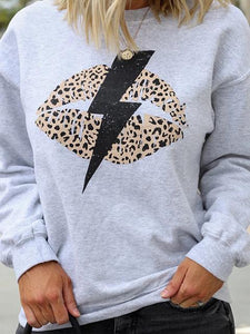 Leopard Lightning Cartoon Print Sweatshirt