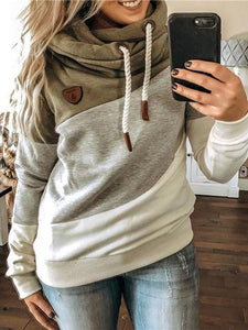Casual Color Block Drawstring Autumn Hoodie