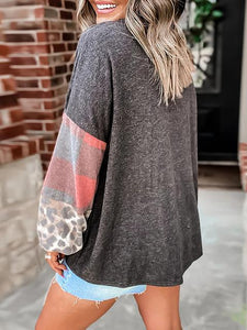 Leopard Print Patchwork Round Neck Oversize Pullover