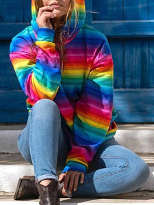 Rainbow Printed Slip Pocket Casual Hoodie