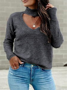 Turtleneck Sweetheart Cutout Novel Sweater