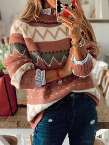 Long Sleeve Round Neck Color Contrast Stitching Sweater