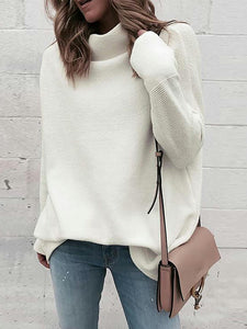 Casual Half High Neck Pullover Loose Sweater