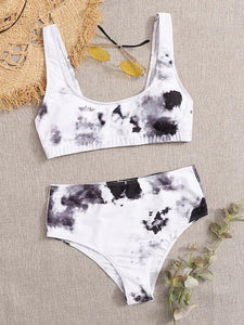Tie-dye Print High Waist Bikini Set