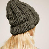 Green knitted winter hat