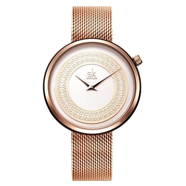Rose gold tone women dress watch