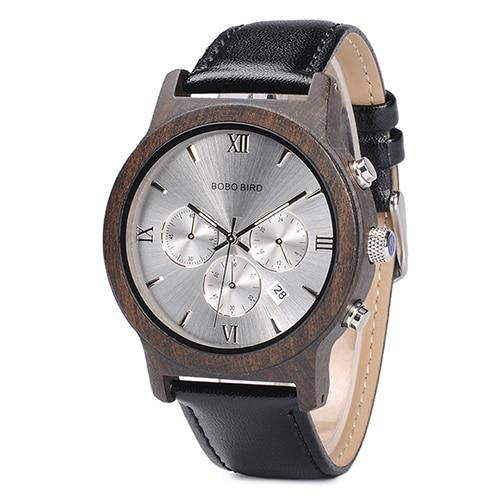 Silver dial wooden watch