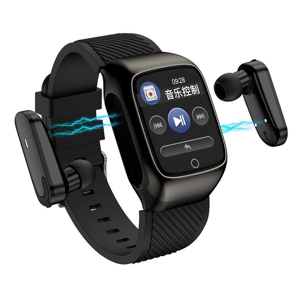smartwatch and earphones in one (black color) silicon band