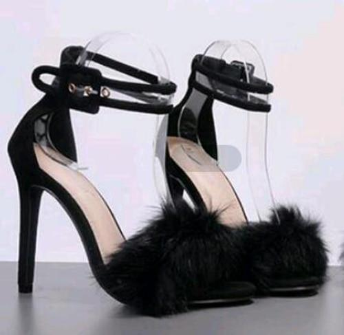 Black fur high heel