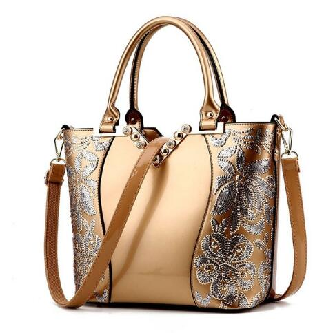 Sequin Embroidery Patent Handbag Diamond Design Shoulder Bags - Sunshine Store