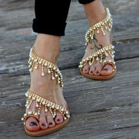 Leather Beading Flat Beach Sandals Golden Sand Edition - Sunshine Store