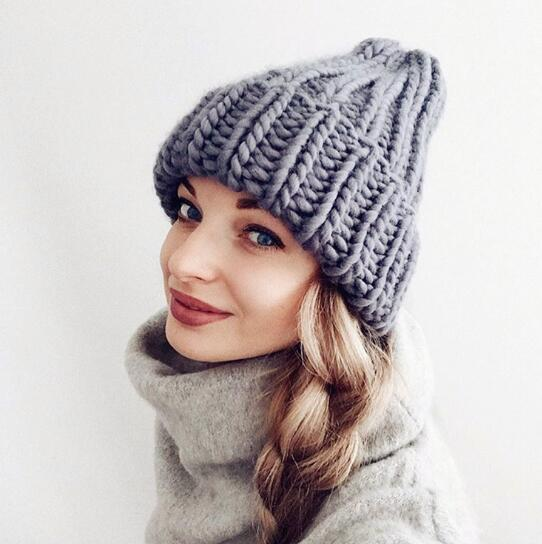 Grey knitted winter hat