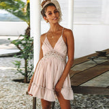 Women Dresses With Spaghetti Strap Backless Sexy Mini Dress - Sunshine Store