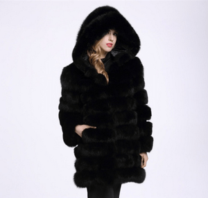 Hoodie Plush Faux Fur Coat Women